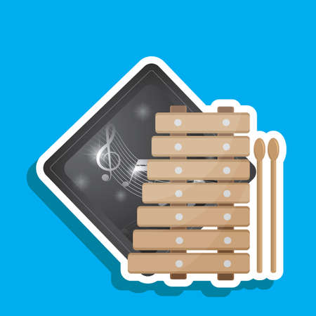 xylophone: xylophone and stick label Illustration