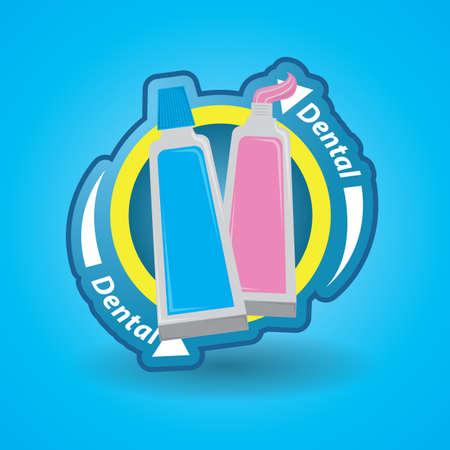 pasta dental: etiqueta de pasta de dientes Vectores