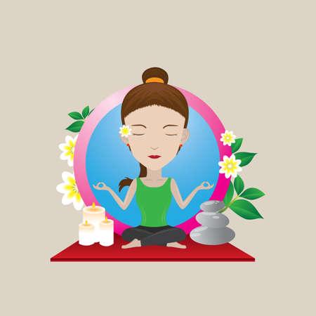 auspicious: woman practicing yoga in auspicious pose