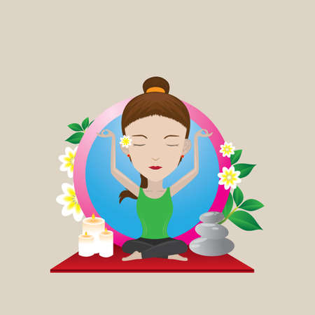 auspicious: woman practicing yoga in auspicious pose