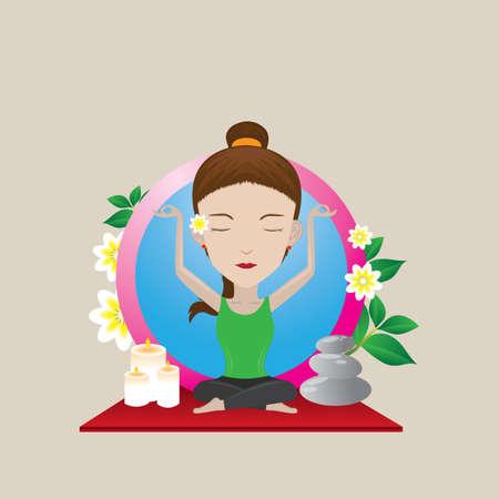 sukhasana: woman practicing yoga in auspicious pose