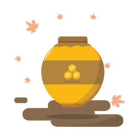 honey pot: autumn honey pot Illustration