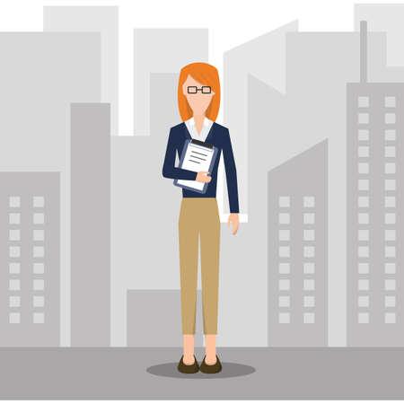 attire: businesswoman in formal attire