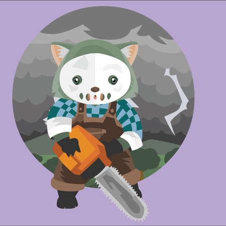 wombat: wombat con la m�scara blanca y motosierra