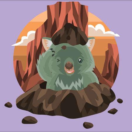 wombat: wombat que aparece desde el suelo Vectores