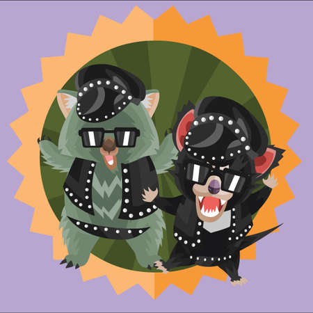 wombat: wombat y del demonio de Tasmania en el traje de cuero