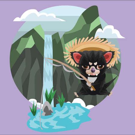 tasmanian: tasmanian devil fishing by the waterfall Illustration