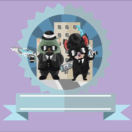 devil ray: wombat and tasmanian devil secret agents label