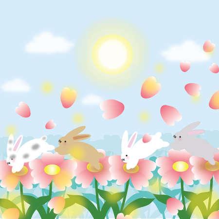 hopping: rabbits hopping on flowers