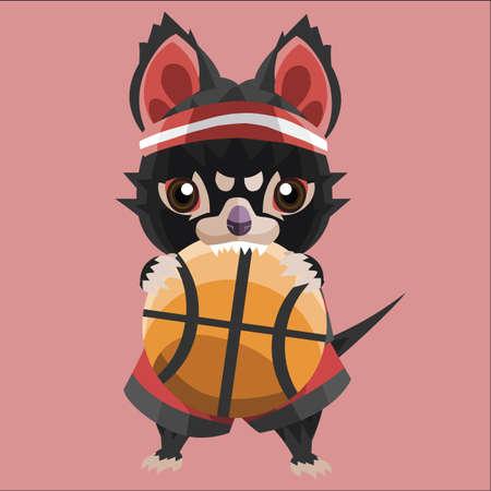 tasmanian: tasmanian devil basketball player Illustration