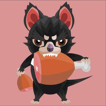tasmanian: eating tasmanian devil