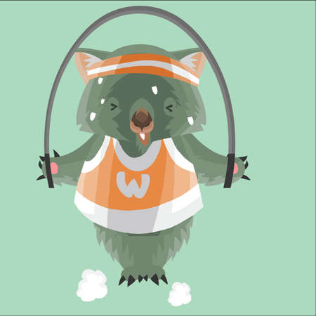 wombat: wombat exercising with a jump rope