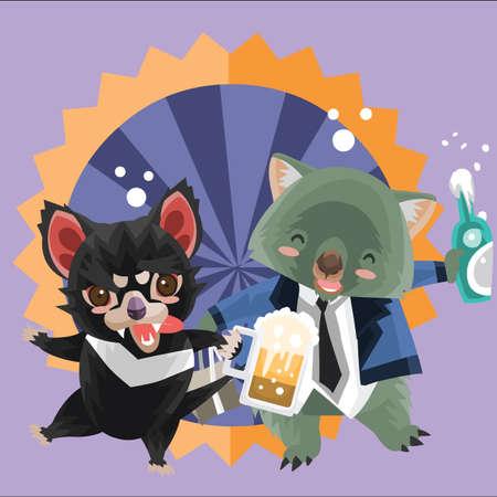 demonio de Tasmania y el wombat durante la hora feliz Ilustración de vector