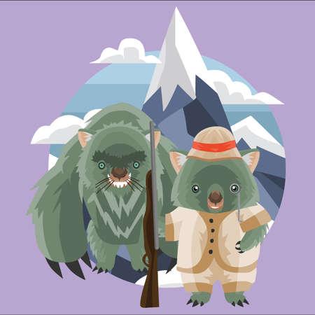 wombat: monstruo wombat y el cazador Vectores