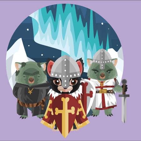 wombat: demonio de Tasmania y el wombat en traje medieval Vectores