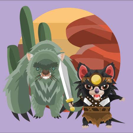 wombat: monstruo del wombat y del guerrero demonio de Tasmania