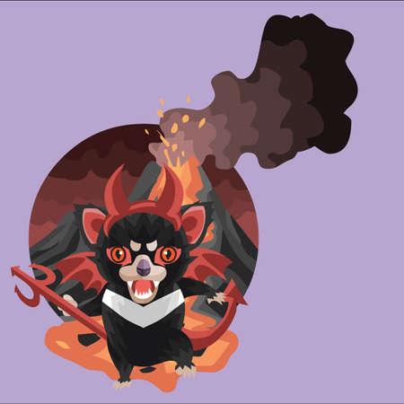 tasmanian: tasmanian devil in devils costume Illustration