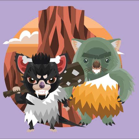 tasmanian: wombat and tasmanian devil caveman