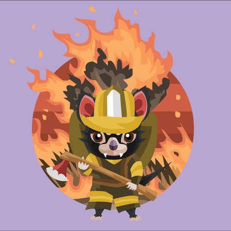 unifrom: tasmanian devil fire fighter