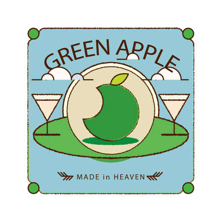 bottle label: green apple bottle label