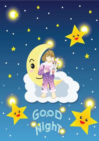 Chica en la luna que deseen buena noche Foto de archivo - 52624044