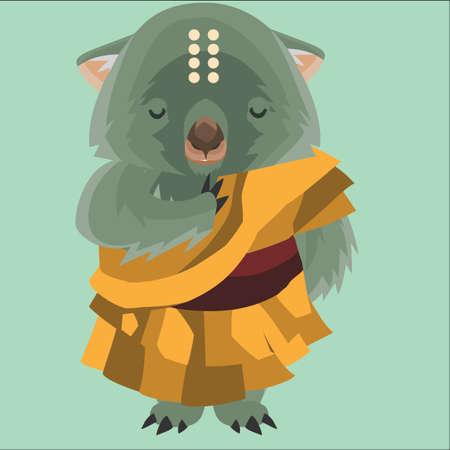 wombat: wombat como monje Vectores