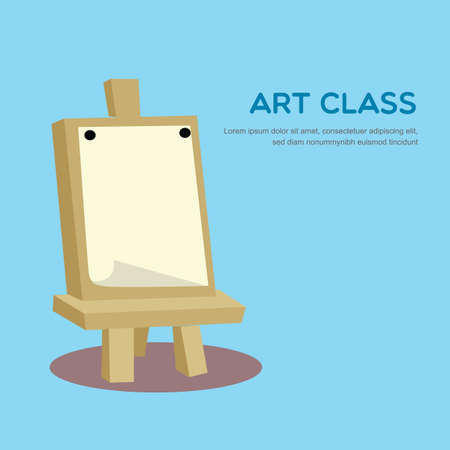 blank canvas: blank canvas on art stand Illustration