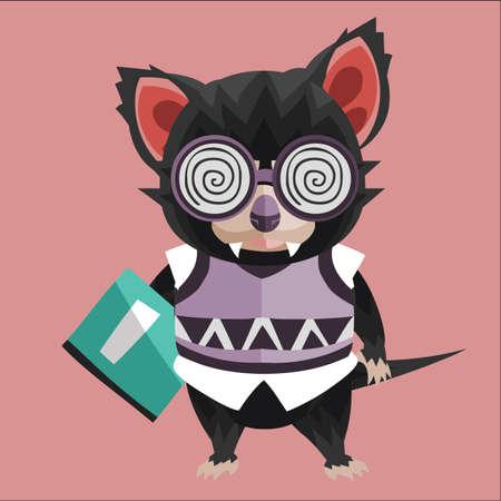 tasmanian devil bookworm Illustration