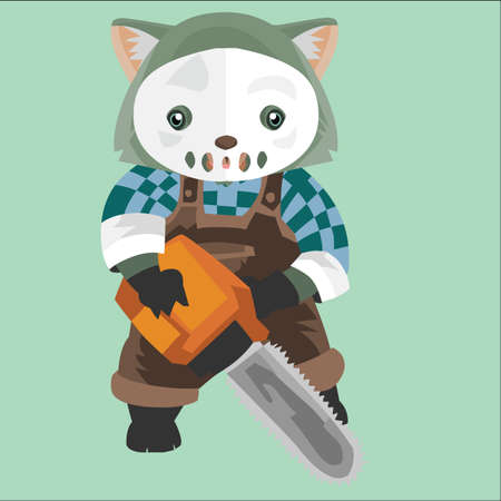 wombat with white mask and chainsaw