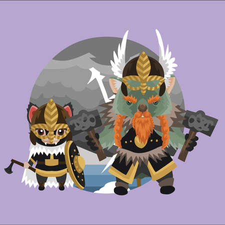 tasmanian: tribal wombat and tasmanian devil in tribal armours Illustration