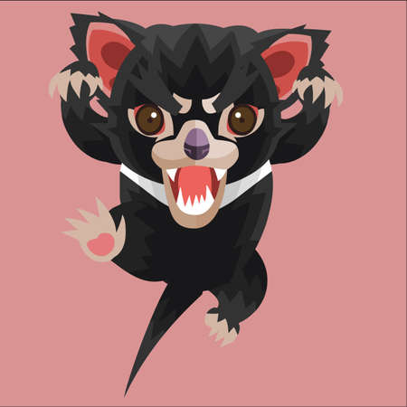 attacking: attacking tasmanian devil Illustration