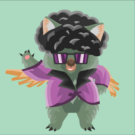 wig: wombat in disco costume Illustration