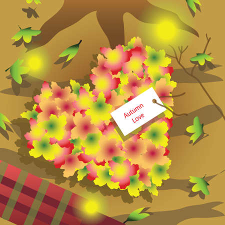 heart shaped leaves: heart shaped autumn leaves with a tag