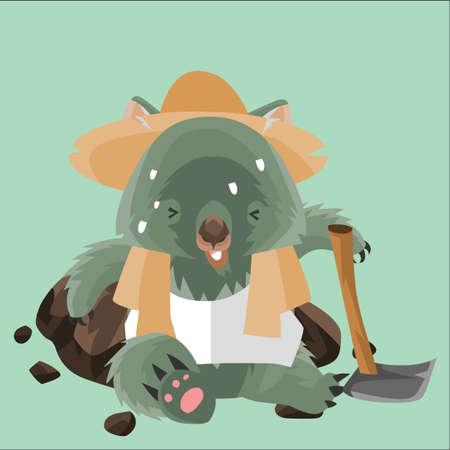 sweating: sweating wombat farmer Illustration
