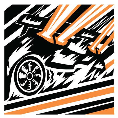 four wheeler: car in race