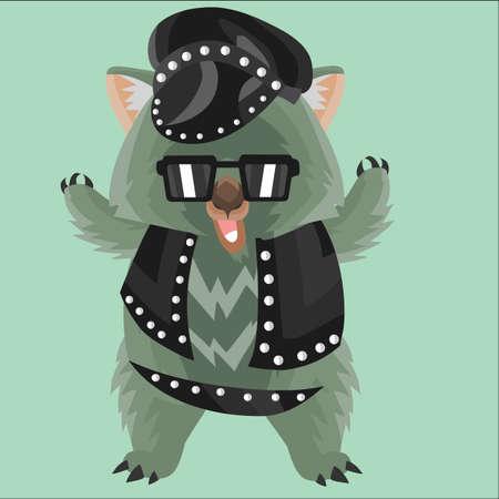 wombat: wombat en traje de cuero
