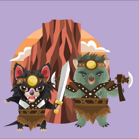 tasmanian: tasmanian devil and wombat warriors Illustration