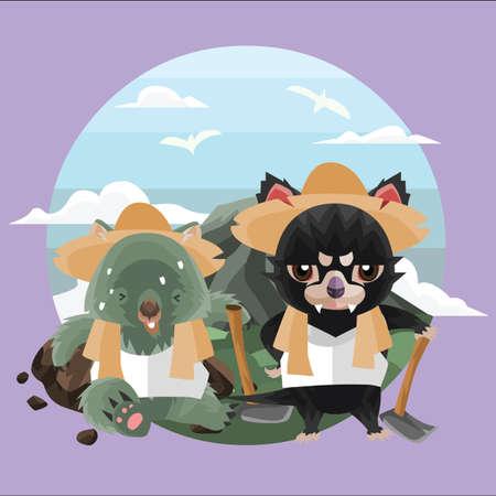 wombat: wombat y los agricultores demonio de Tasmania
