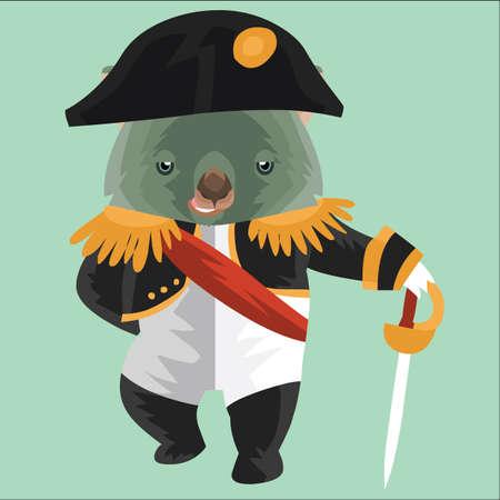 wombat: wombat en traje militar francés