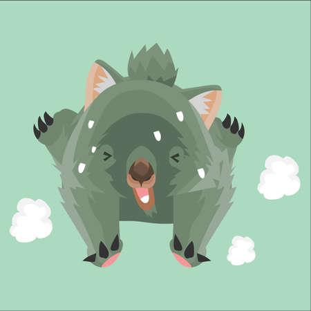 wombat: cayendo wombat Vectores