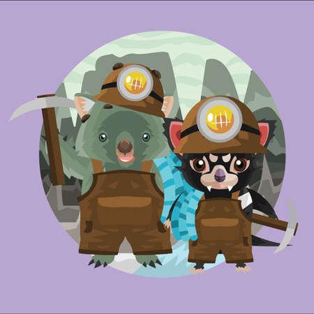 wombat: wombat y mineros demonio de Tasmania