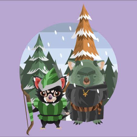 tasmanian: tasmanian devil and wombat as medieval characters