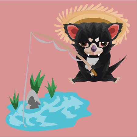 tasmanian: impatient tasmanian devil fishing