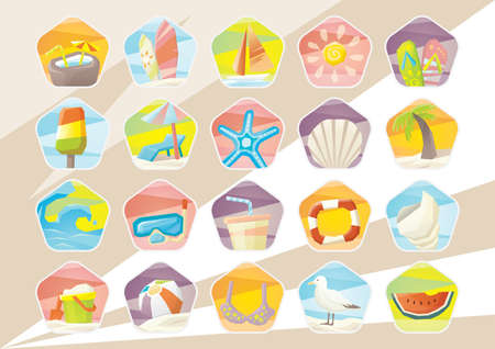 watermelon boat: summer beach vacation icons