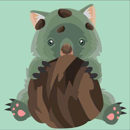 wombat: wombat que abraza a un mont�n de tierra Vectores