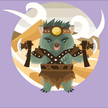 wombat: guerrero wombat Vectores