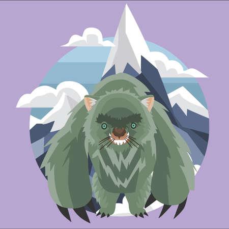 wombat: monstruo wombat en las montañas