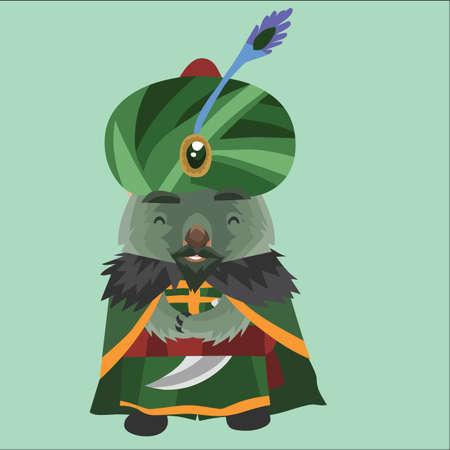 wombat: wombat como un sultán árabe Vectores