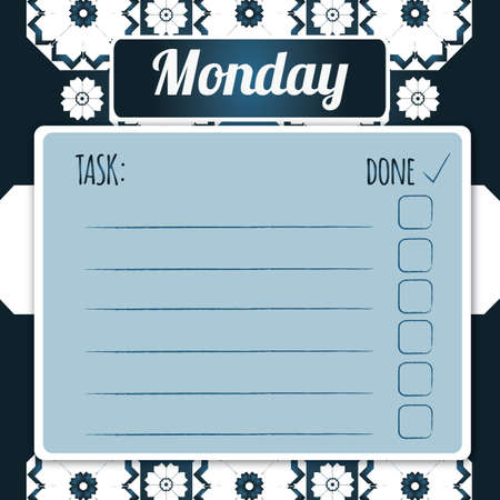weekday: blank daily checklist template
