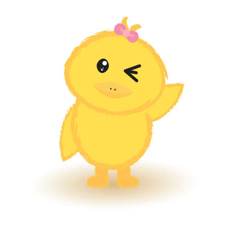 chick: baby chick winking Illustration